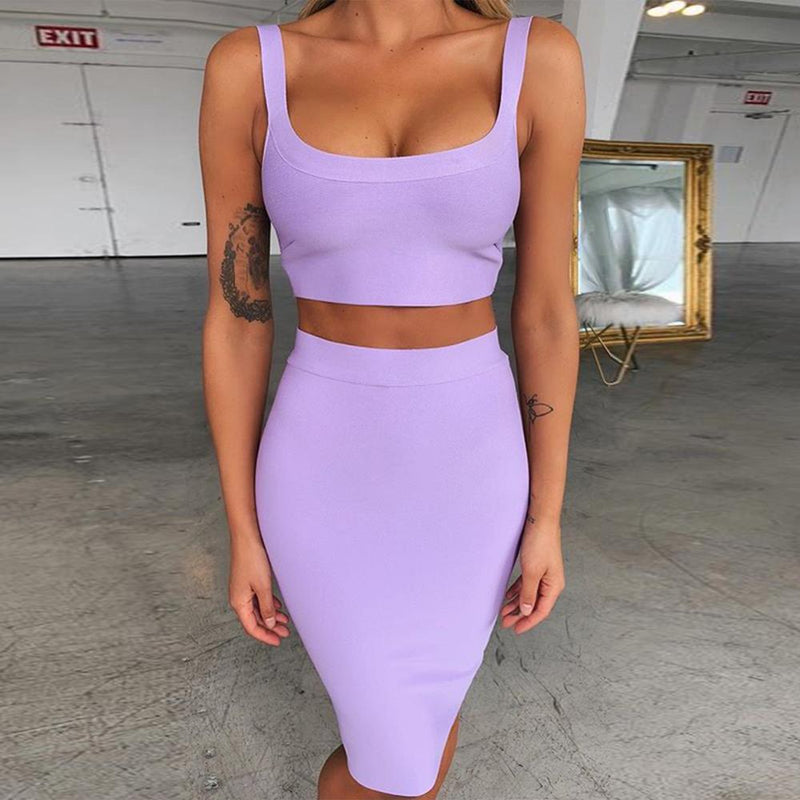 Bandage Party Dresses Crop Top And Purple 2 Piece Bandage Set Bodycon Sexy Celebrity Bandage Dress Mini Club