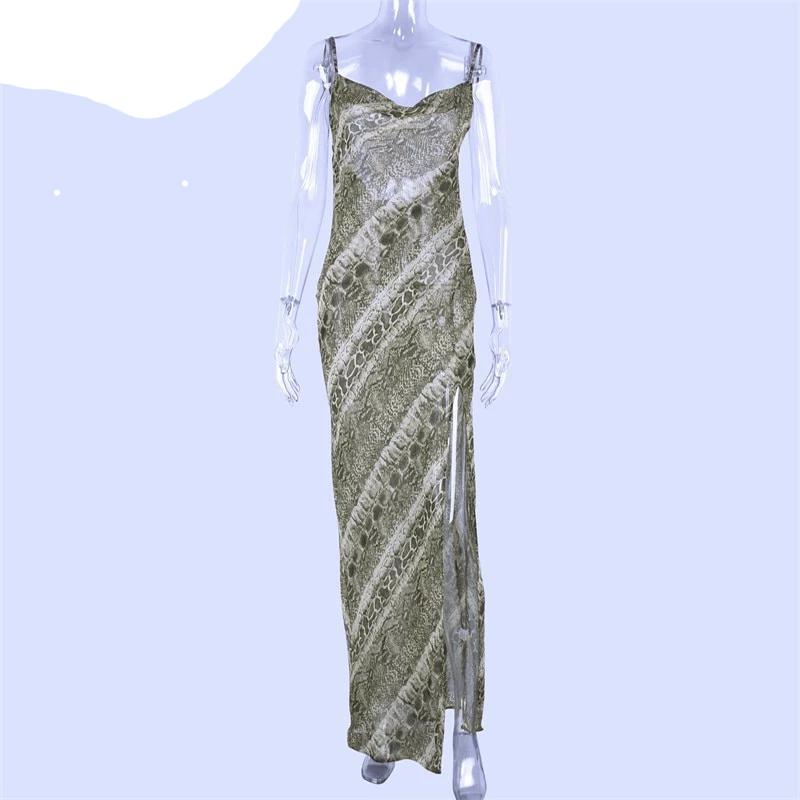 Snake print chiffon sexy women long party slip maxi sheer dress  strap backless slit elegant clothes
