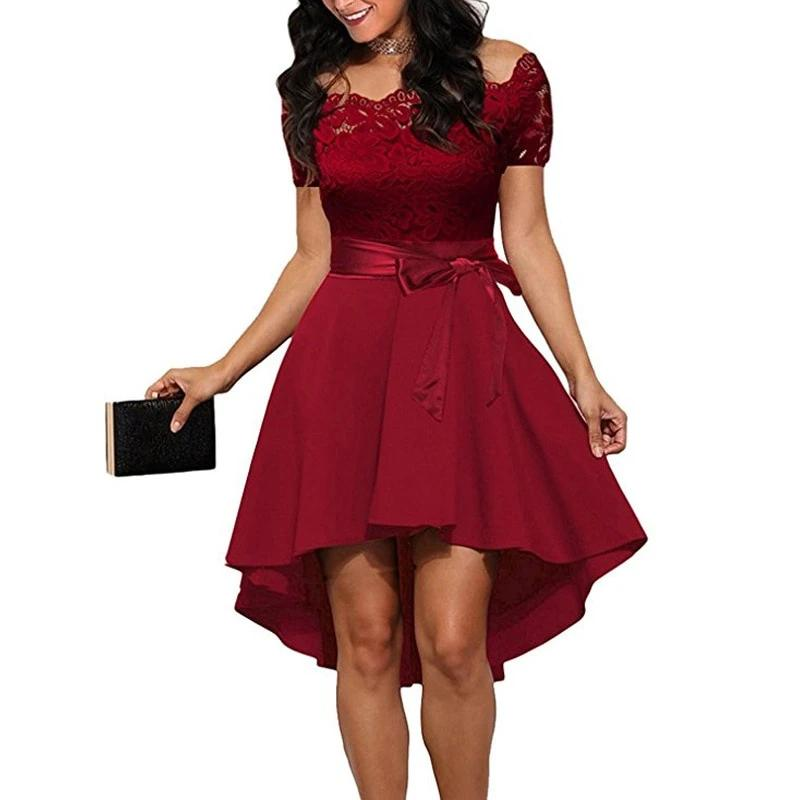 Elegant Red Lace dress Women Patchwork Slash Neck Short Sleeve Sashes Tunic Evening Party Dresses
