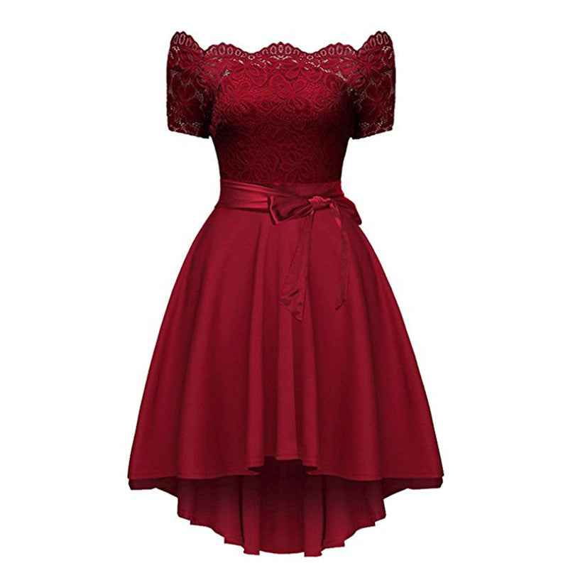Elegant Red Lace dress Women Patchwork Slash Neck Short Sleeve Sashes Tunic Dress 2020 Summer Ladies Sexy Dresses for Party