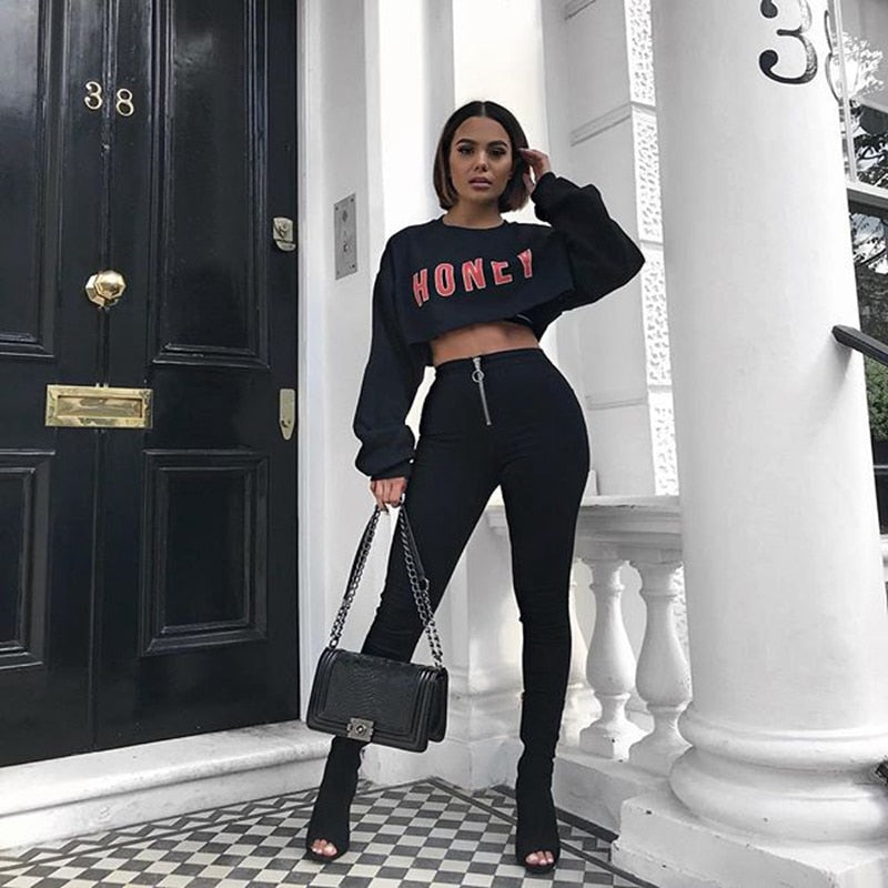 Fashion Black Long Sleeve Crop Top Women HONEY Letter Print Sexy Tee Ladies Autumn Pullover T Shirts Loose Hoodie