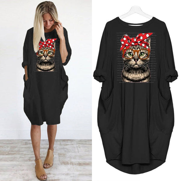 Cartoon Cat Women Oversized Dress Autumn Loose Casual Pullover Dresses Girls Long Sleeve Knee Length Print Vestido