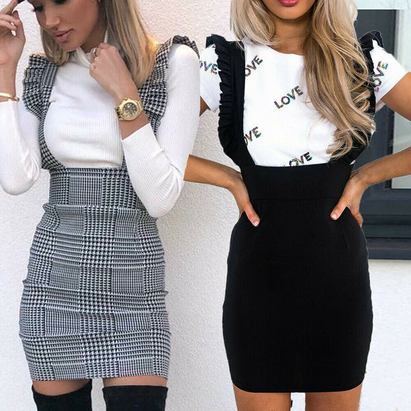 Women Dress Check Dog Tooth Frill Ruffle Pinafore High Waist Bodycon Party Mini Dress Holiday Casual Slim Dress vestidos