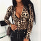 Women Leopard T Shirt Bodysuit Elegangt Long Sleeve OL Body Top V Neck Romper Party Club Office Lady Leotard Streetwear