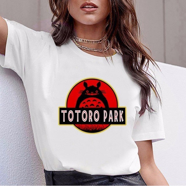 Funny Totoro T Shirt Women Top Tee Shirts Spirited Away T-shirt Studio Ghibli Tshirt Japanese Anime Graphic Harajuku Female