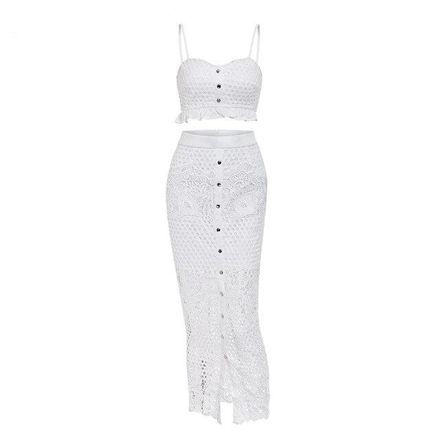 Sexy hollow out white lace dress Women ruffle buttons 2 piece autumn maxi dress Elegant split long party dress bodycon