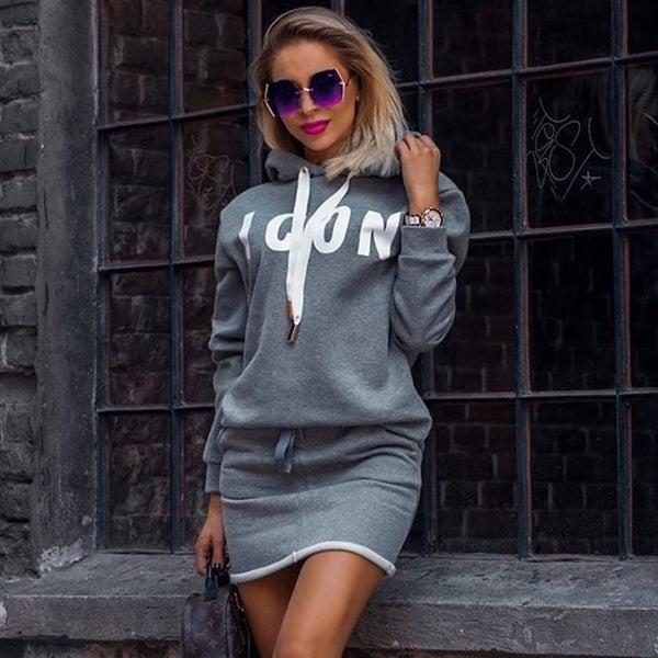 Hoodie Dress Lady Casual Letter Print Hooded Sweatshirt Dresses Autumn Winter Tops Women Long Sleeve Sport Dress Sportwear