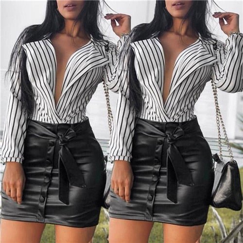 Fashion Elegant Loose Tops Office Lady Blouses Black White Striped Casual Blouse Women Deep V Neck Long Sleeve Shirt