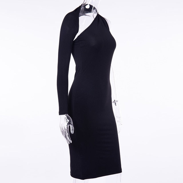 One Shoulder  Knee Length Dress Women Autumn Black Scoop Back One Shoulder Dresses Elegant Female Sexy Club Slim Skinny