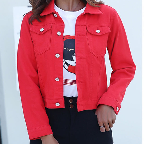 Jeans Jacket and Coats for Women Autumn Candy Color Casual Short Denim Jacket