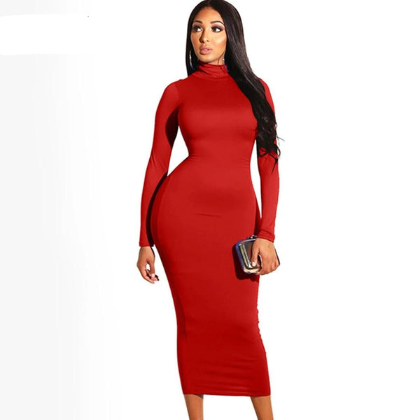 Sexy Bodycon White Maxi Dress Women Fall Winter Long Sleeve Turtleneck Stretch Club Party Tight Fitted Long Dresses