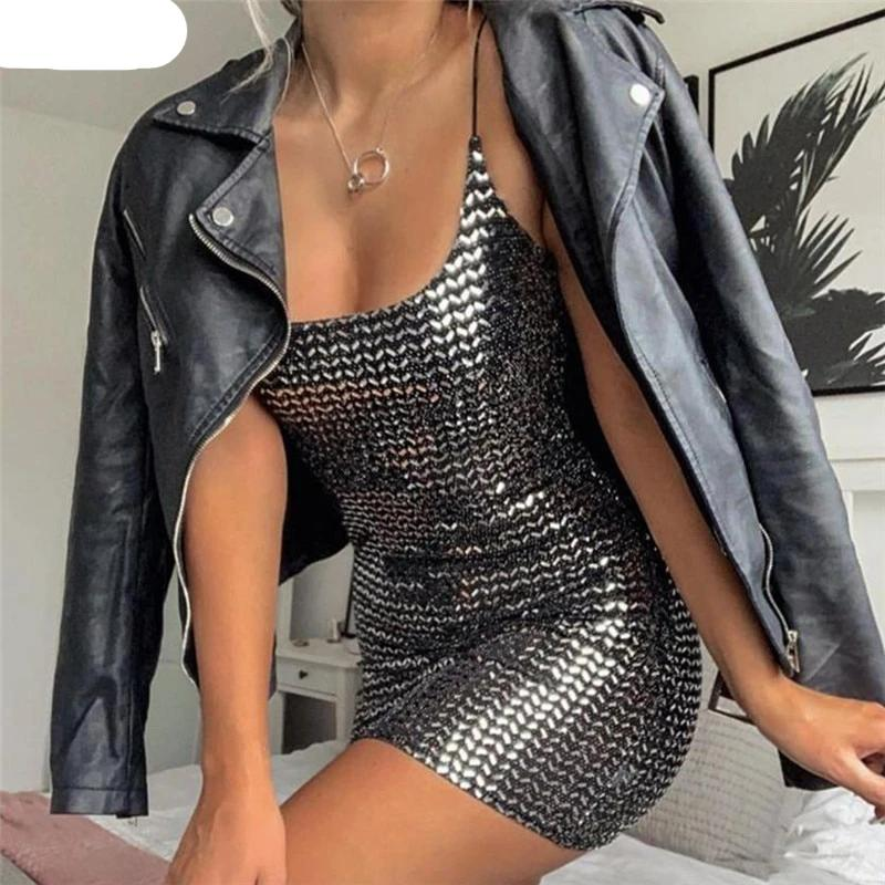 Sexy Black Bling Bling Sequin women dress Spaghetti Strap sleeveless fashion Slim Party Dresses Casual