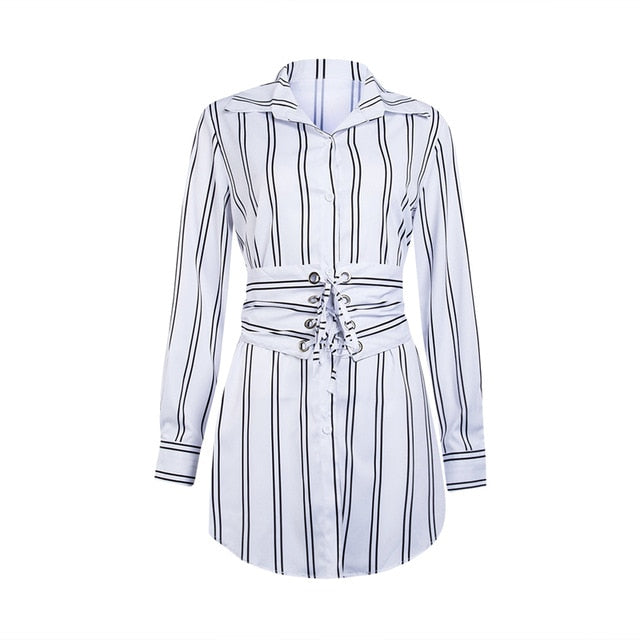 Summer Autumn Women Long Sleeve Mini Shirt Dress Button V Neck Three Quarter Sleeve Waist Blouses Dress