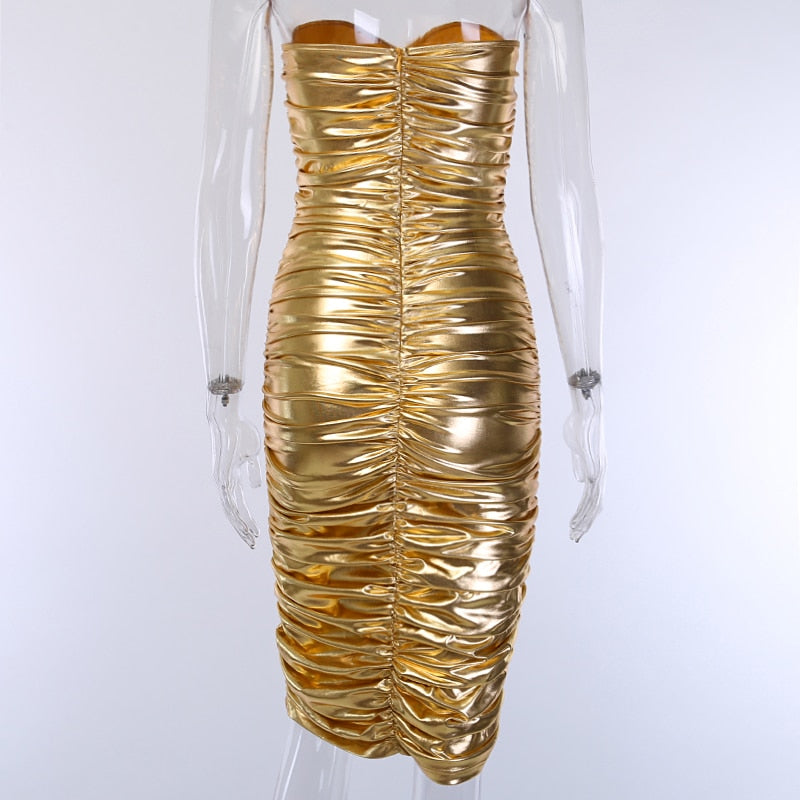 Metallic Golden Tube Top Dress Women Sexy Ruched Bandeau Bodycon Midi Dress Ladies Shiny Strapless Ruched Dress Club Wear