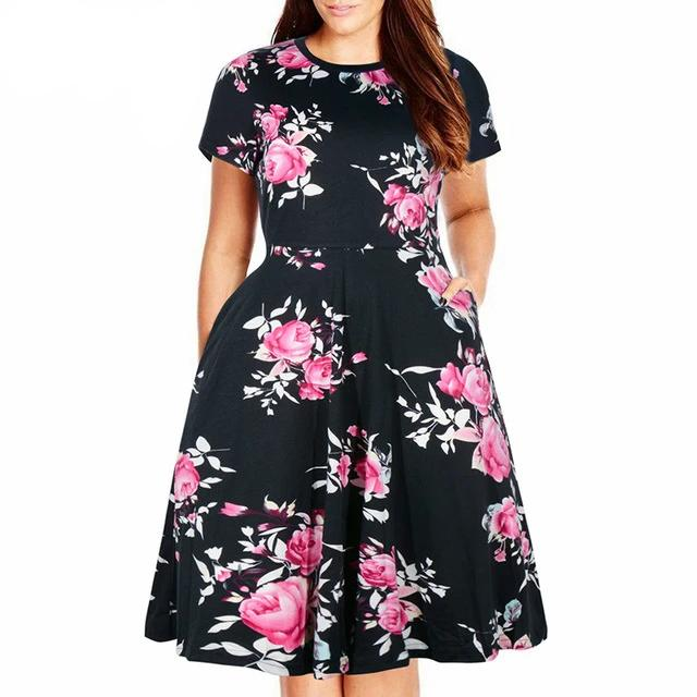 Women Casual O-neck Short Sleeve 50s Party A-line Dress Vintage Print Midi Plus Size 8XL 9XL Swing Dress With Pockets