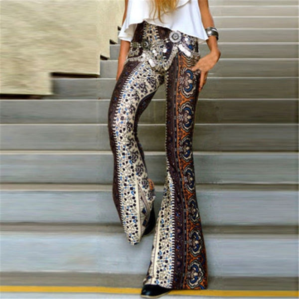 Women Slim Boho Hippie High Waist Wide Leg Long Flared Bell Bottom Pants