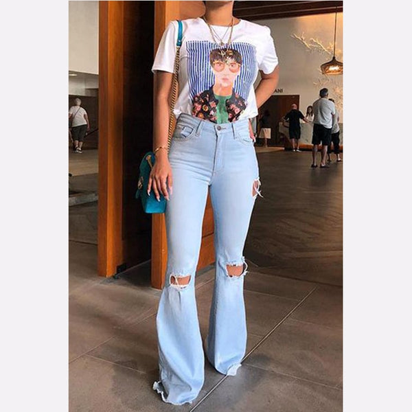 Summer High Waist Mom Jeans Flare Denim Bell Bottom Ripped Jeans For Women Plus Size Female Wide Leg Skinny Jeans Woman