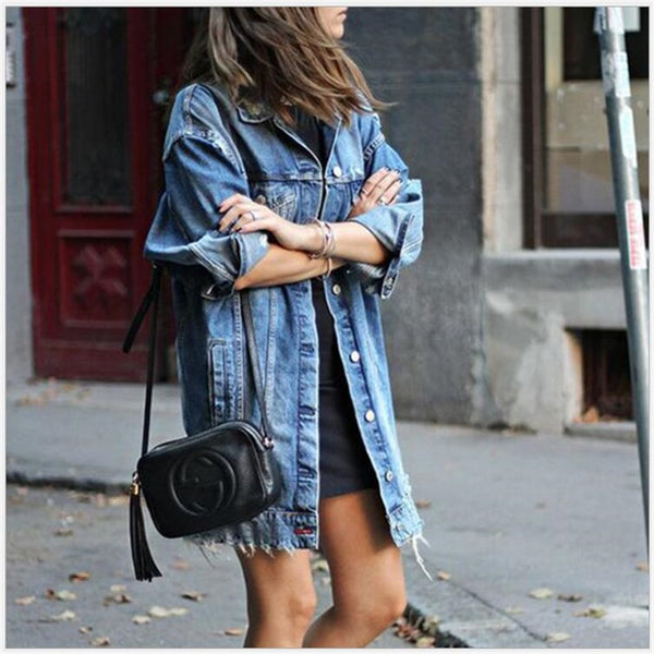 Denim Jackets Women Hole Boyfriend Style Jean Jacket Denim Loose Spring Autumn Denim Jeans Coats