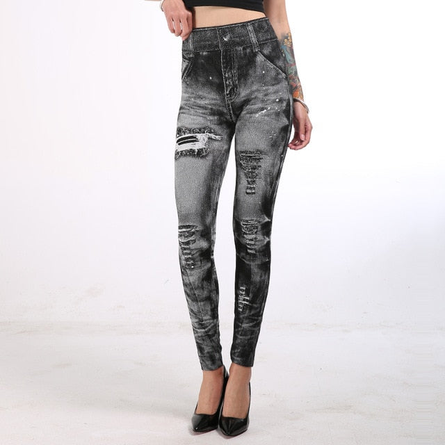 Woman Leggings Plus Size Leggings Print Mock Pockets and Hole Slim Jeans Leggings Ladies Skinny Trousers