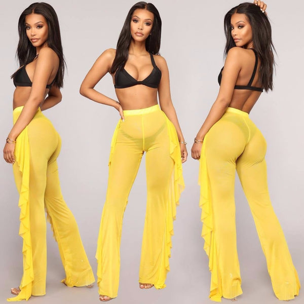 Sexy Ruffle Women Beach Mesh Pants Sheer Wide Leg Pants Transparent See through Sea Holiday Cover Up Bikini Trouser Pantalon