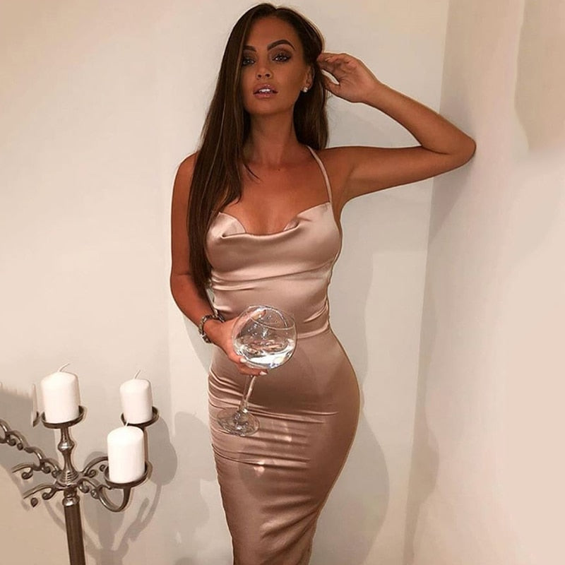 women Satin long dress summer Green Elegant dresses woman party night sexy backless lace up Slim fit bodycon dress midi