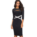 Vintage Elegant Contrast Color Patchwork Hollow Out Work vestidos Business Party Bodycon Office Women Dress