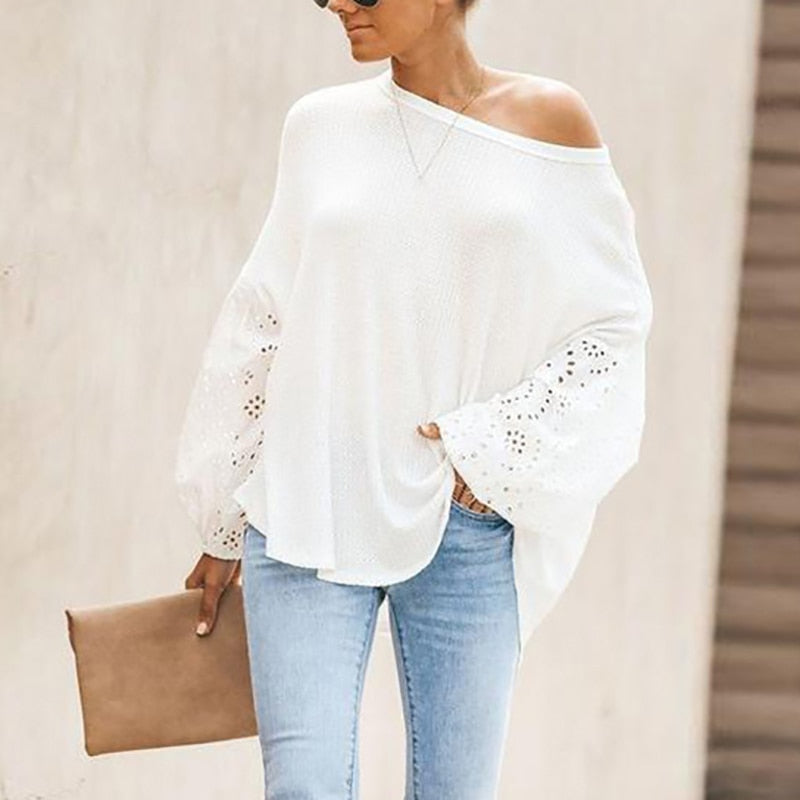 O-Neck Elegant Embroidery Floral Hollow Out Blouse Shirt Women Lantern Sleeve Tops Spring Summer Casual Loose Blusas Plus Size