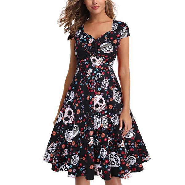 Summer skater dress elegant Vintage Red Sugar Skulls Flower print 50s rockabilly Evening Party Plus size Halloween Dresses