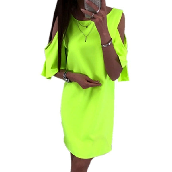 Off Shoulder Summer Dress Plus Size Women Chiffon T Shirt Dress Neon Green Black White Pink Red Beach Mini Dresses Boho 4XL 5XL