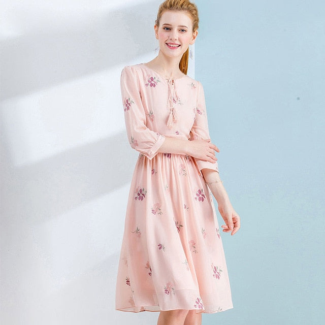 Only Plus Elegant Pink Chiffon Dresses For Women Casual Embroidery Party Dress Tassel 2020 Spring Female Dress S-XXL