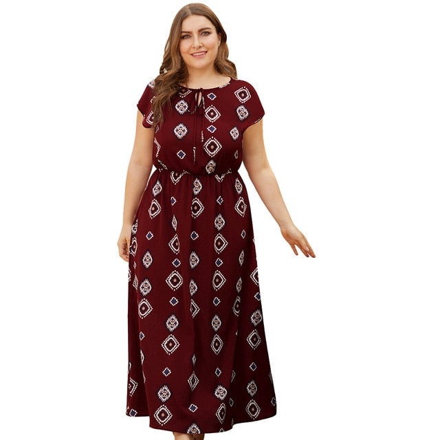 Plus Size Holiday Maxi Dress For Women Vintage Floral Print Short Sleeve O Neck Sundress Casual High Waist Bow Lace Up Vestidos
