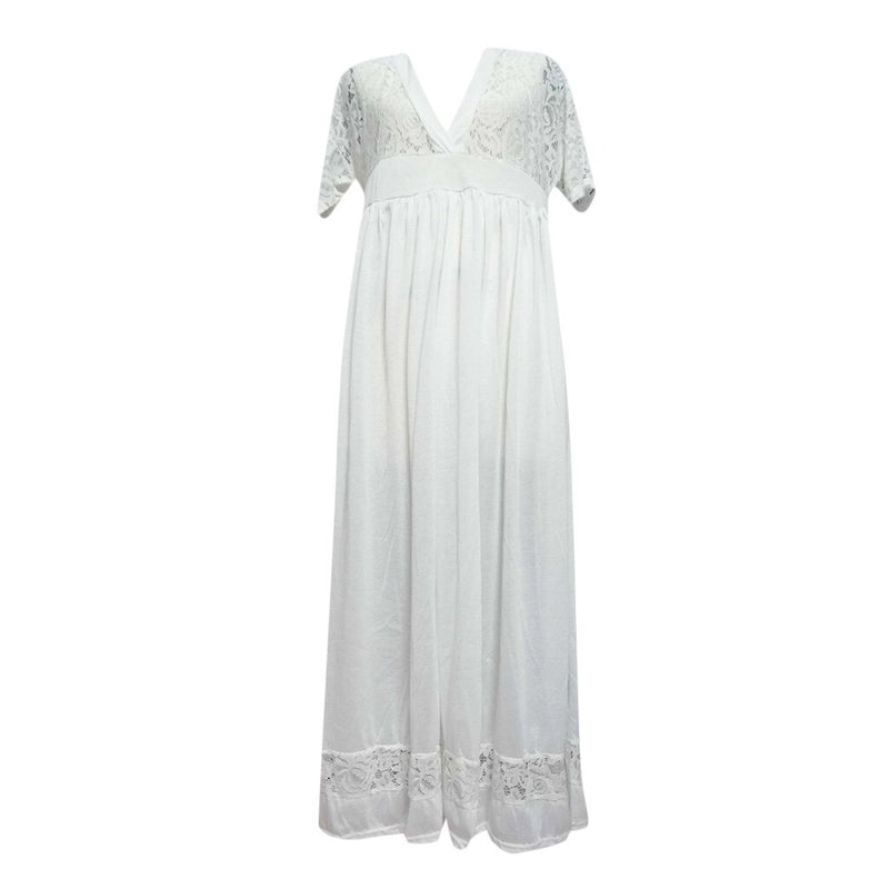 Plus Size White Dress For Women Summer Solid Lace Patchwork Hollow Loose Maxi Long Dresses Short Sleeve Pockets Pleated Vestidos
