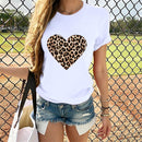 Plus Size Women T-Shirt 2020 Summer Leopard Heart Print T Shirt Women Casual White Tops Loose Short Sleeve Tshirt Camisas Mujer
