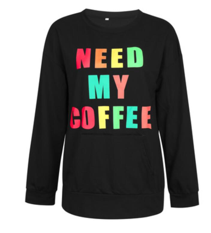 Sovelen Women's Crewneck Long Sleeve Graphic Letter Print Pullover Loose T-Shirts Tops with Pockets