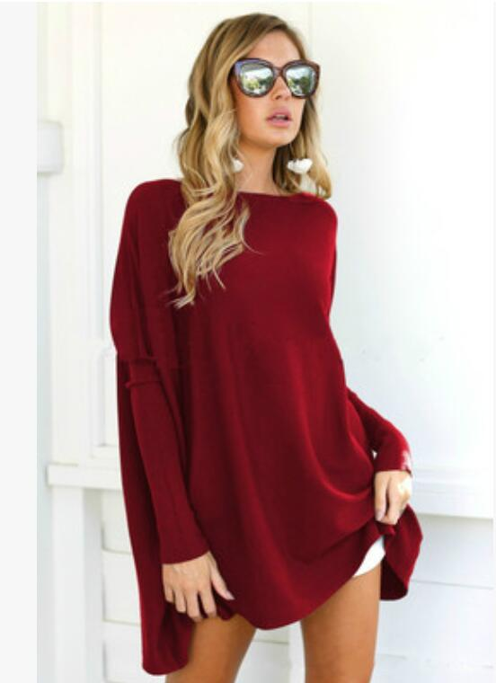 AUROELLA Womens Oversized Shirts Tunics Batwing Sleeve Loose Fitting Tunic Tops for Leggings Pullover Baggy Tops