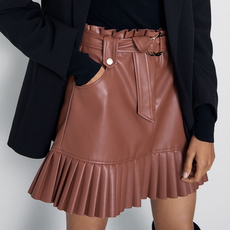 Tie Belt Waist Pockets Skirts Women Fashion Small Pleated Faux Leather Skirt Women Elegant Mini Skirts Female Ladies