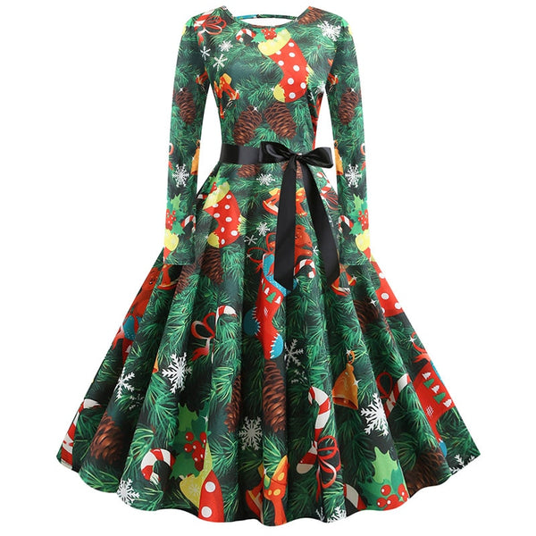 S-5XL Christmas Print Vintage Dress Women Autumn Winter Long Sleeve A-line Midi Party Dress Pin Up 50s 60s Robe Femme Plus Size