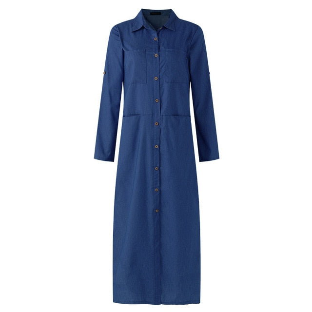 S 5XL Spring Fashion Denim Blue Dress  Women Casual Lapel Long Sleeve Long Shirt Vestido Elegant Work OL Sundress