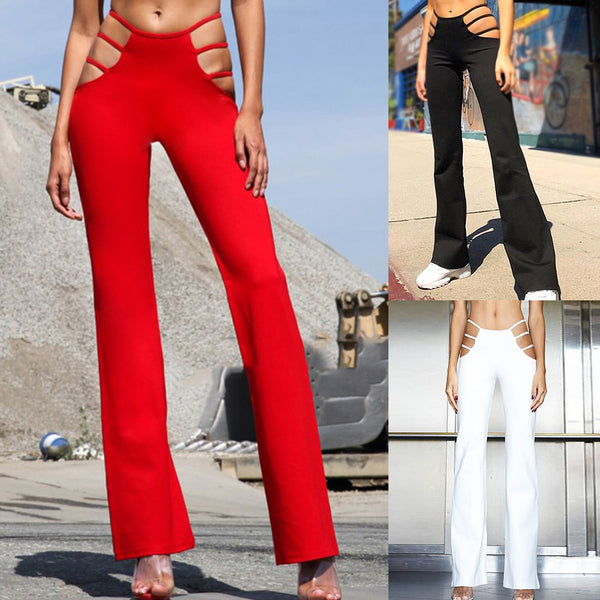 Sexy Cut Out Holes Womens Pants Slim Fit Sweat Skinny Solid Pants For Women Flare Hollow Out Thin Low Waist Wine Red Pants