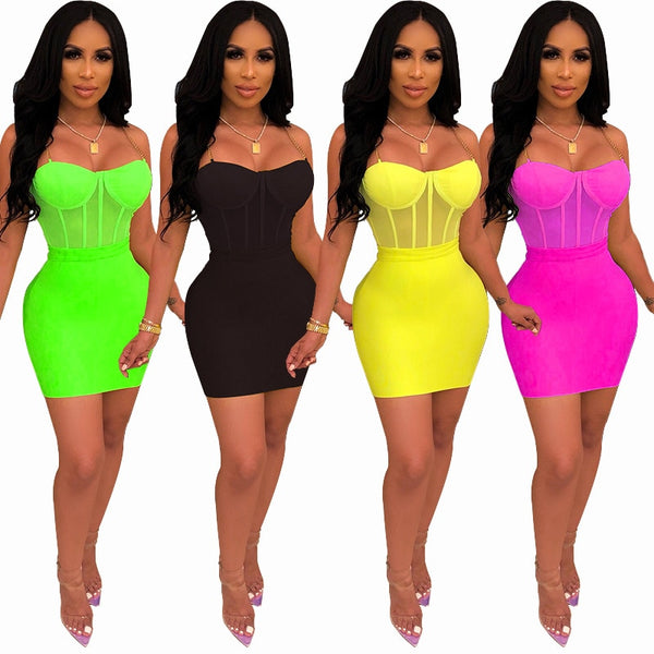 Sexy Neon Green Dress Women Clothing Spaghetti Strap Mini Great Birthday Summer Dresses Bodycon Party Club Dress Women 2-pieces