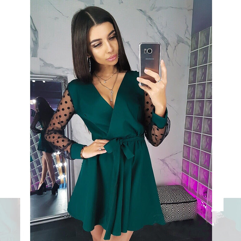 Sexy Sashes v Neck Party Dress Women Long Sleeve Lace Patchwork a Line Elegant Dress Autumn Female Club Party Dress Mini