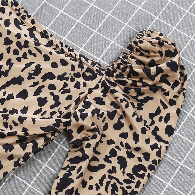 Sexy Women Leopard Crop Tops Blouse Ladies Deep U Collar Long Sleeve Printing Shirts Pullovers High Street Slim Blusa Chemise OL