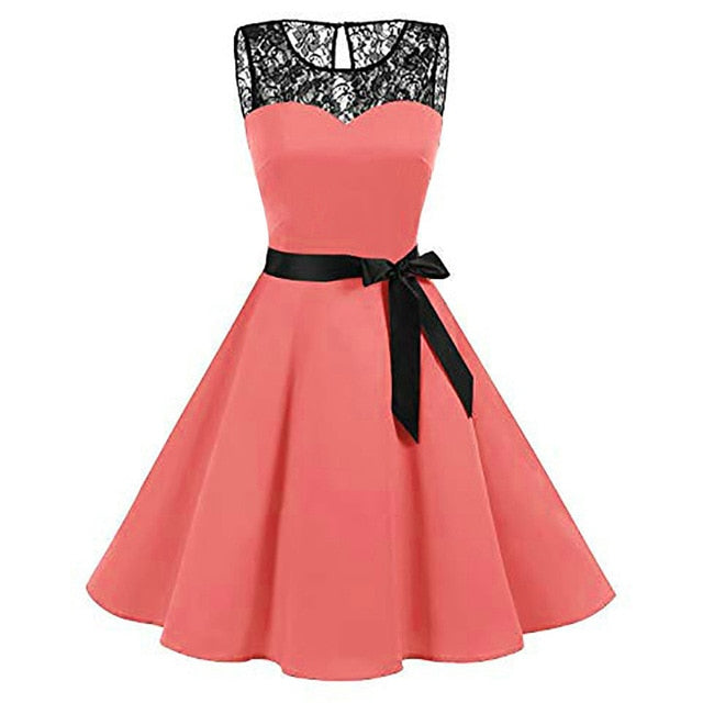 Women High-Waist Pleated Dress girl Sleeveless Solid Lace Hepburn Vintage Swing lady casual