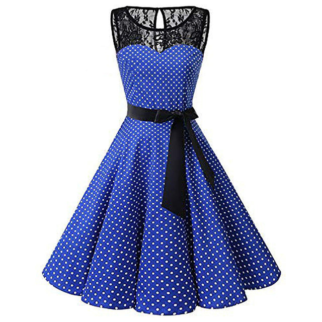 Women Sleeveless Polka Dot Lace Hepburn Vintage Swing High-Waist Pleated Dress solid design