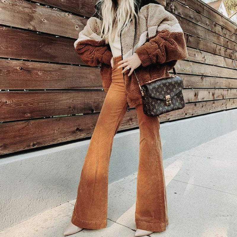 Stylish Corduroy Flare Pants Women High Waist Bellbottoms Long Pant Wide Leg Autumn Slim Trousers Lady Sexy Highstreet Bottoms