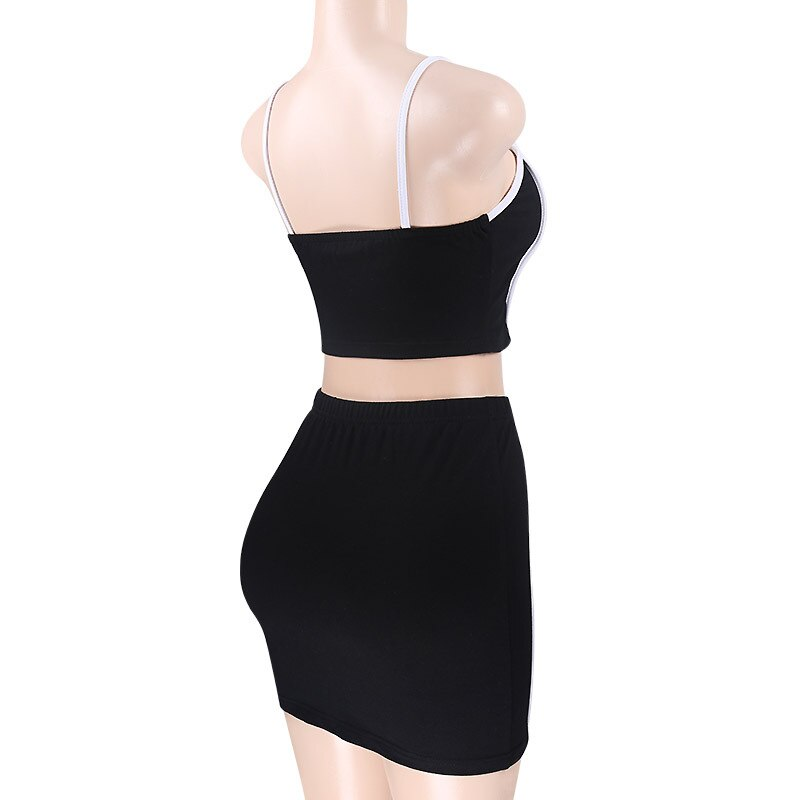 Summer Black Skirt Set Women Sexy 2 Piece Set Skirt and Top Girls Club Wear Two Piece Dress Top and Micro Skirts Side Stripe