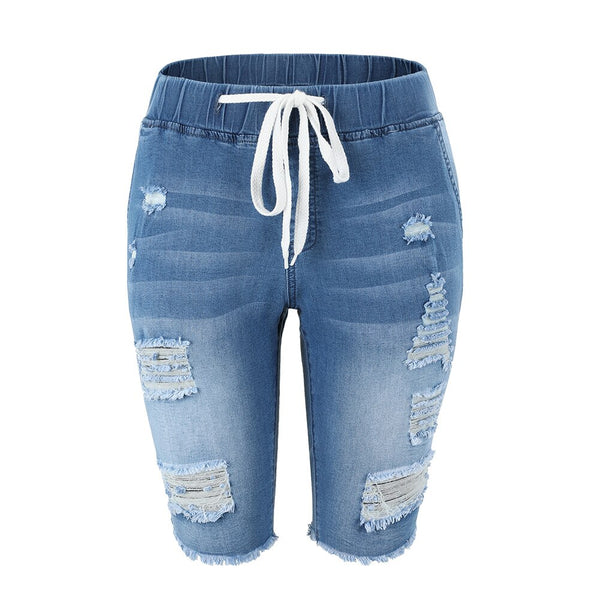 Summer Denim Ripped Bermuda Shorts Women Blue Drawstring Closure Distressed Knee Length Stretch Short Jeans