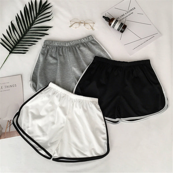 Summer Shorts Female Simple Women Casual Shorts Patchwork Body Fitness Workout Elastic Skinny Slim Beach Egde Shorts