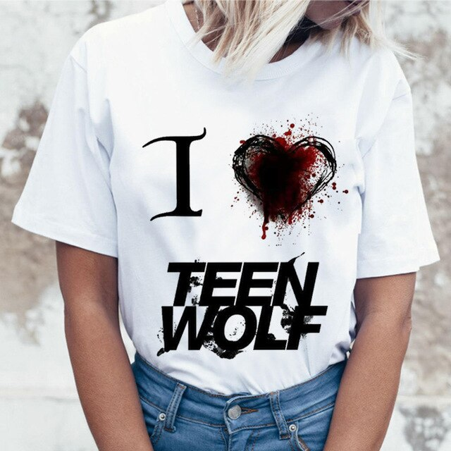 Teen Wolf Harajuku T Shirt Women Ullzang Aesthetic 90s T-shirt Vintage Graphic Funny Cartoon Print Tshirt Fashion Top Tee Female