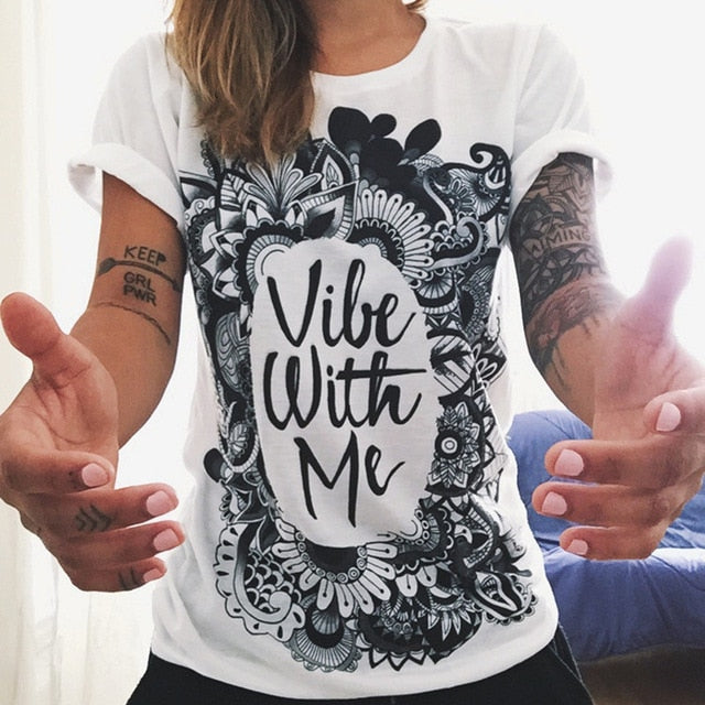 Tshirt Summer Vogue Women Clothing Black White T-shirt Print Letter Funny Street Punk Rock Casual Tops Tees T Shirt Femme